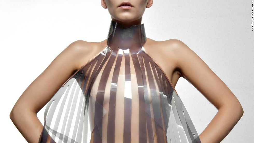"The dress that turns transparent when the wearer is aroused. Would you try it? Dutch design collective <a href=""http://www.studioroosegaarde.net/info/"" target=""_blank"">Studio Roosegaarde</a> have developed a sensual dress called Intimacy 2.0 together with designer <a href=""http://v2.nl/"" target=""_blank"">Anouk Wipprecht</a>.  Made of leather and smart e-foils, it 'explores the relationship between technology and intimacy'. The high-tech panels are stimulated by the heartbeat of the wearer. Initially opaque or white, they become increasingly transparent when exposed to an electric current -- in this case a beating heart."