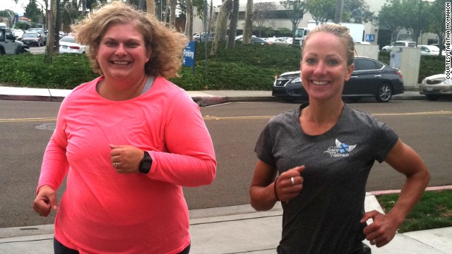 Tabitha McMahon runs with Xterra world champ Lesley Paterson.
