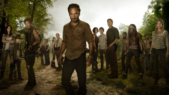 Rick Grimes (played by Andrew Lincoln, center) tries to keep some sense of normalcy in a post-apocalyptic world overrun with walkers on AMC