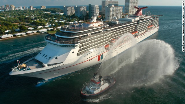 A 2002 file photo of the  Carnival Legend, a 2,100-passenger, 960-foot-long cruise ship in Fort Lauderdale, Florida.