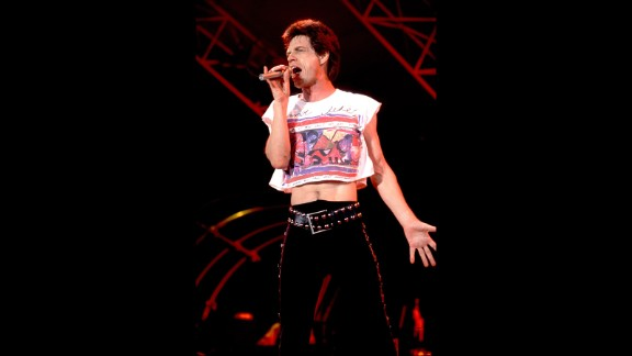 Even as the fashion shifted to favor wider pant legs for men, Jagger stuck close to his personal style in 1989.