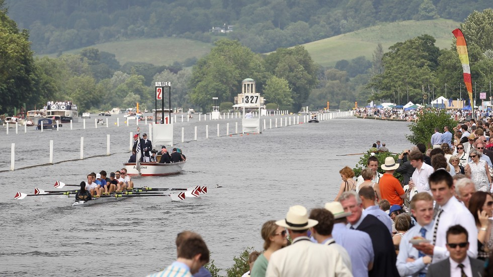 A view of the One Mile 550 yards of the course at the Henley Royal Regatta as a crew rows past the spectators.