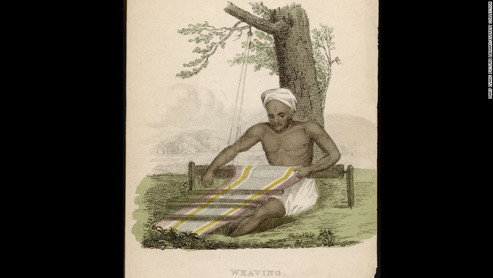 An engraving from 1822 shows an Indian weaver at work in the shade of a tree.