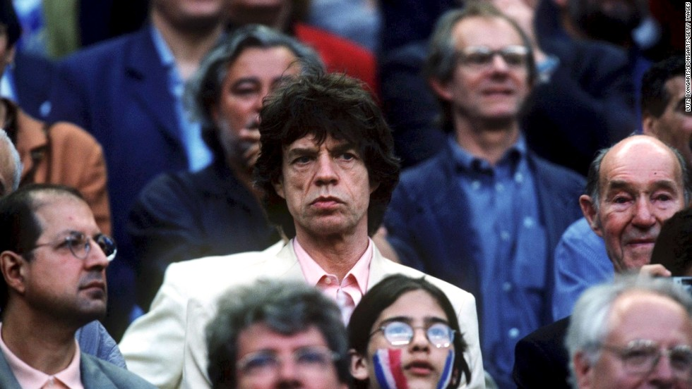 During the 1998 World Cup, Mick Jagger attends the final match between France and Brazil. France won 3-0.