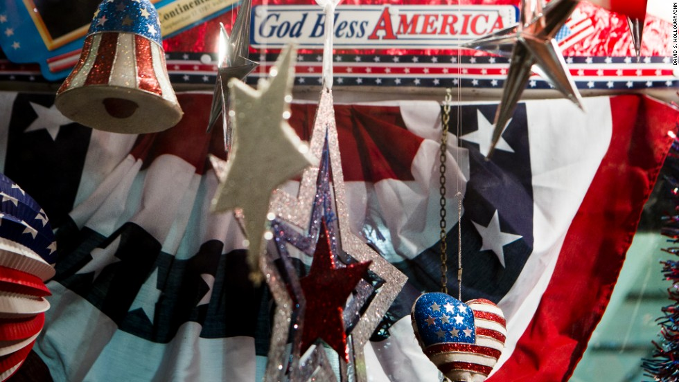 Patriotic decorations on display at the convention.