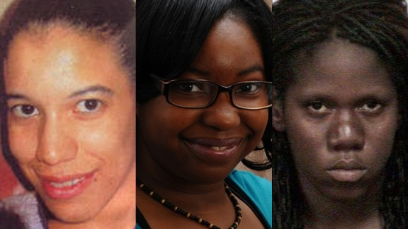 On July 21, Cleveland authorities announced they had discovered the bodies of three women, later identified as Angela Deskins, from left, Shirellda Terry and Shetisha Sheeley.  All three women had been reported missing.