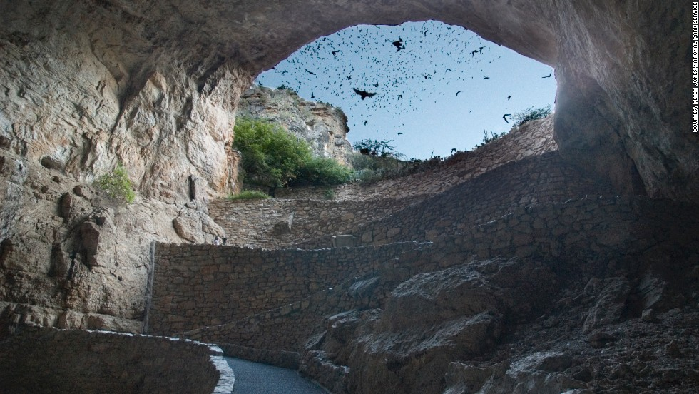 New Mexico's Carlsbad Caverns National Park hosts nightly bat watches in the Bat Flight Amphitheater.