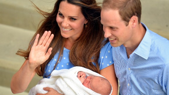 The Duke and Duchess and their newborn son depart St. Mary