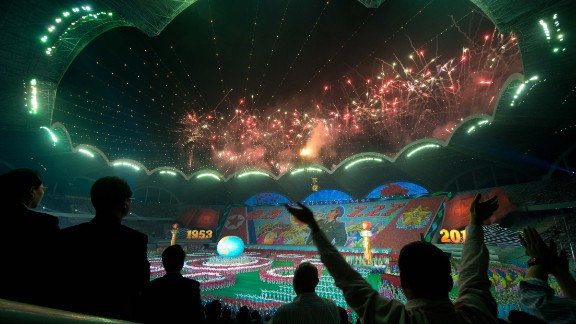 The finale of the performance features fireworks and an intricate display on the field.