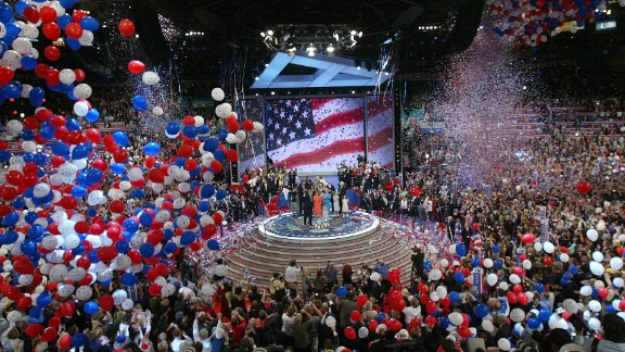 Balloons fall from the ceiling as President George W. Bush accepts the Republican nomination on the final night of the Republican National Convention in September 2004.  It was the first time a Republican convention had been held in the arena.