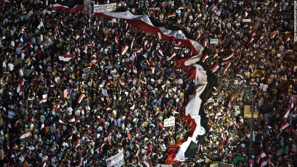 Supporters of the Egyptian military rally at Tahrir Square in Cairo on Friday, July 26.