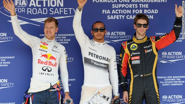 Lewis Hamilton (center) will be seeking a fourth victory at the Hungary Grand Prix on Sunday.