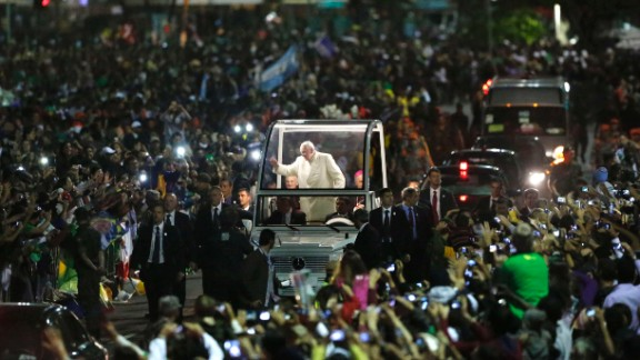 Crowds swarmed Pope Francis last July as he made his way through World Youth Day in Rio de Janeiro, Brazil. According to the Vatican, 1 million people turned out to see the Pope.