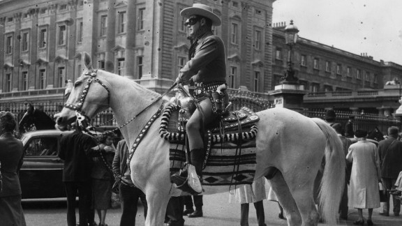 The Lone Ranger character spawned novels, comic books, a TV series and films around the world. Here Moore visits London