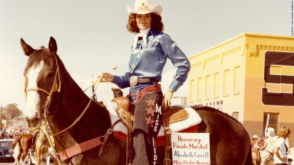 Miss Rodeo America 1978, Almabeth Carroll from Colorado, saddles up during one of her many rodeo appearances. Today, Miss Rodeo America wins $22,500 in scholarship prize money but must also commit to around 200 events across the country.
