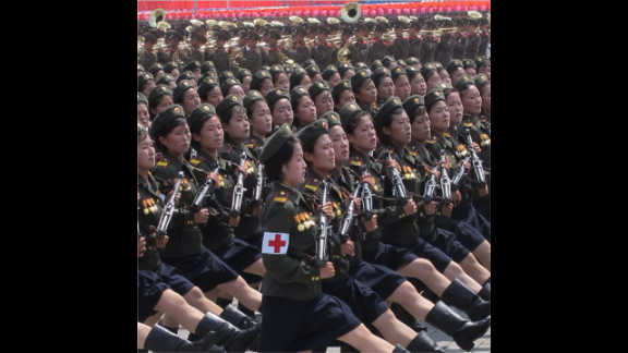 At one of the specially organized, expertly synchronized parades, these female army medics marched perfectly in line as they paraded through Pyongyang's Kim Il Sung Square.