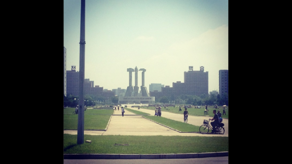 The Communist nation also proudly displays in Pyongyang the signs of its ideology -- the hammer and the sickle here loom over visitors and locals alike in the city.