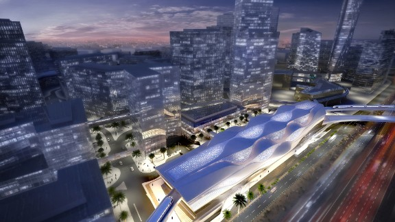 An overhead projection of the King Abdullah Financial District station.