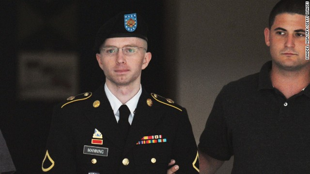 Army Pfc. Bradley Manning is escorted from court on July 25, 2013 in Fort Meade, Maryland on July 25, 2013. The trial of Manning, accused of 'aiding the enemy' by giving secret documents to WikiLeaks, is entering its final stage Thursday as both sides present closing arguments. AFP PHOTO/Mandel NGAN (Photo credit should read MANDEL NGAN/AFP/Getty Images)