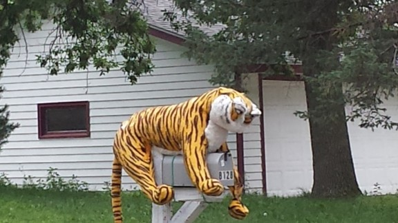 "This unusual mailbox gave Tara O'Connor a much-needed laugh one day in Cottage Grove, Minnesota. ""After having a bad day, that was the best pick-me-up I could have asked for,"" she says."