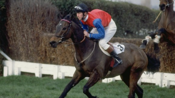 Also a keen horseman, Charles is pictured here taking part in a steeplechase event in 1990.