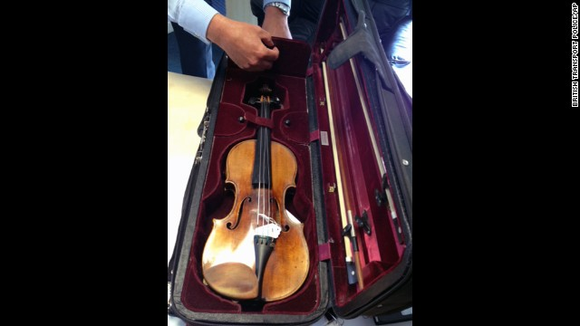 British Transport Police recovered the Stradivarius from a house in central England.