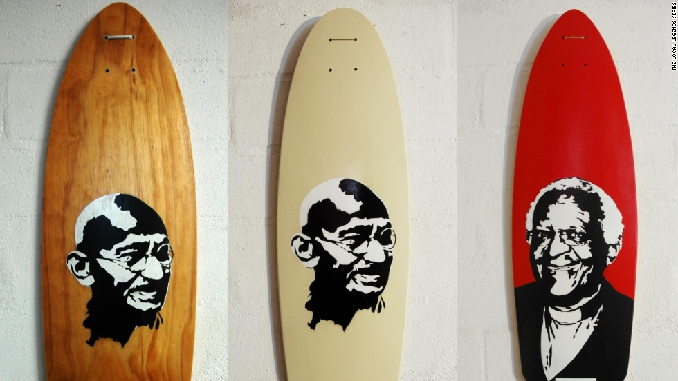 The faces of both Mahatma Gandhi and Archbishop Desmond Tutu have graced the longboards built by South African Kent Lingeveldt.