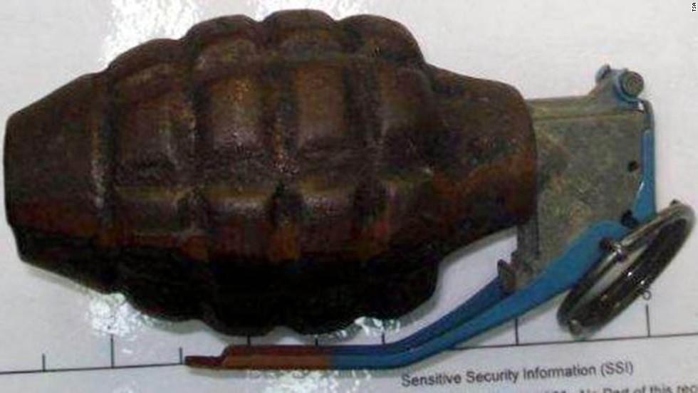 An inert grenade was found at San Antonio International Airport.