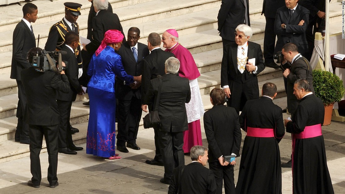 Robert and Grace Mugabe arrive at the Vatican for the beatification ceremony of John Paul II in May 2011.