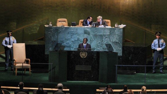 Mugabe addresses the 65th session of the United Nations General Assembly in September 2010.