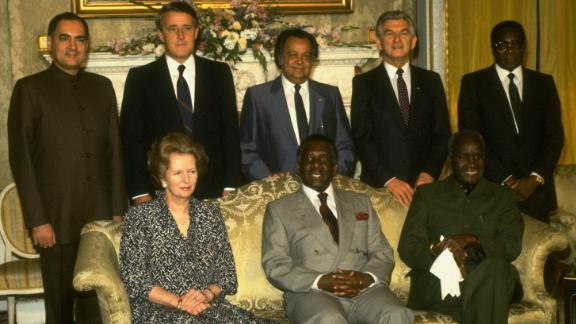 Mugabe poses for a photo with other leaders at a Commonwealth of Nations meeting in London in 1986. Pictured from left, in the back row, are Indian Prime Minister Rajiv Gandhi, Canadian Prime Minister Brian Mulroney, Commonwealth Secretary-General S.S. Ramphal, Australian Prime Minister Robert Hawke and Mugabe. In the front row, from left, are British Prime Minister Margaret Thatcher, Bahamian Prime Minister Lynden Pindling and Zambian President Kenneth Kaunda.