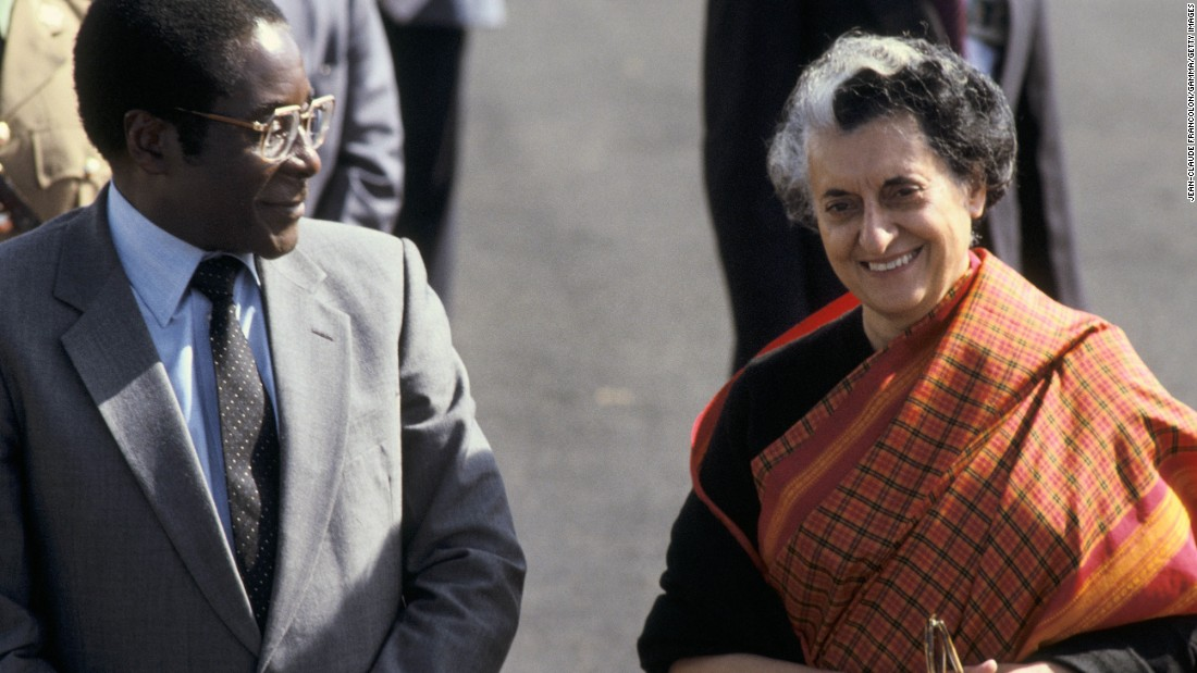 Mugabe is seen with Indian Prime Minister Indira Gandhi in New Delhi in 1983.