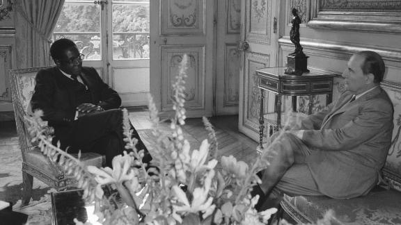 Mugabe meets with French President Francois Mitterand in Paris in 1982.