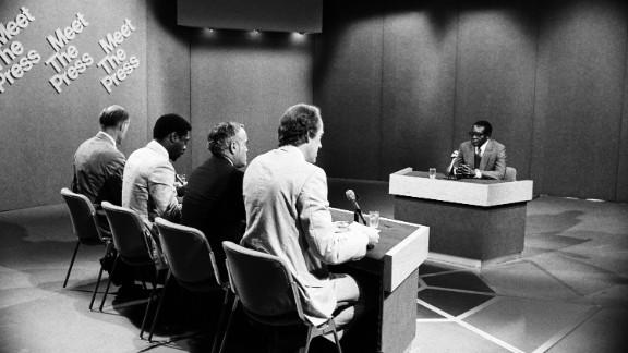 From left, NBC News moderator Bill Monroe, Newsday