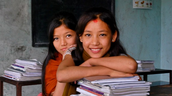 Former child laborers Maya Lama (front) and Rita Tamang became good friends after arriving at Nepal Goodwave Foundation's transit house. When they grow up, the girls said they want to become counselors and help children like themselves.