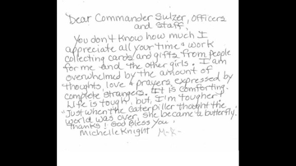 """In a handwritten note, Knight thanked Cleveland police for their efforts, saying she was overwhelmed with the support she had received from """"complete strangers."""" The note was posted Wednesday, July 31, on the police's Second District Community Relations Committee Facebook page."""