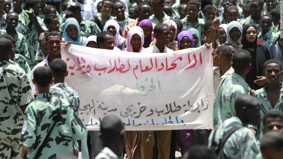 Members of Khartoum's student union demonstrate in 2011 in Sudan. This is a region where conflicts may have been associated with El Nino Southern Oscillation, according to researchers.