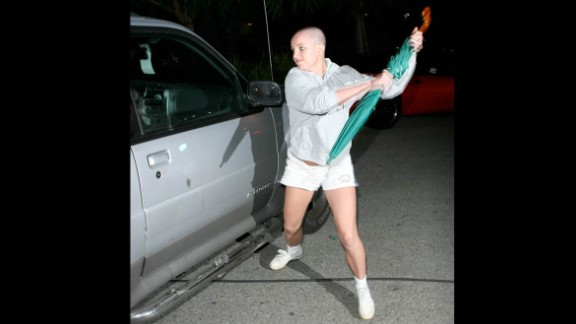 """Britney Spears' career has rebounded from her 2007 meltdown, but the star has yet to live down her infamous run-in with the paparazzi that year. Newly bald after shaving her head at a California salon that February, Spears <a href=""""http://www.time.com/time/specials/packages/article/0,28804,1892685_1892691_1892788,00.html"""" target=""""_blank"""" target=""""_blank"""">attacked a paparazzo's car with an umbrella</a> outside the home of her ex, Kevin Federline, in Tarzana."""