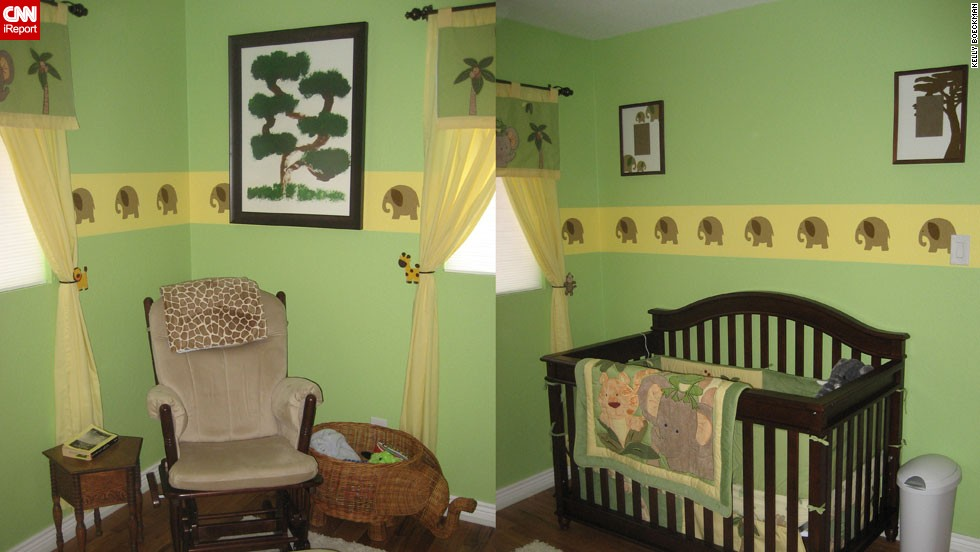 "<a href=""http://ireport.cnn.com/docs/DOC-1012914"">Kelly Boeckman</a>'s elephant-themed nursery."