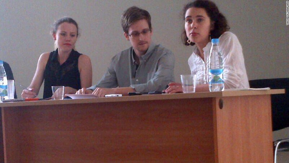Snowden meets with human rights activists and lawyers on July 12 in a transit zone of the Russian airport. It was his first public appearance since he left Hong Kong on June 23. He announced that he was seeking refuge Russia while awaiting safe passage to Latin America, where he has been offered asylum.