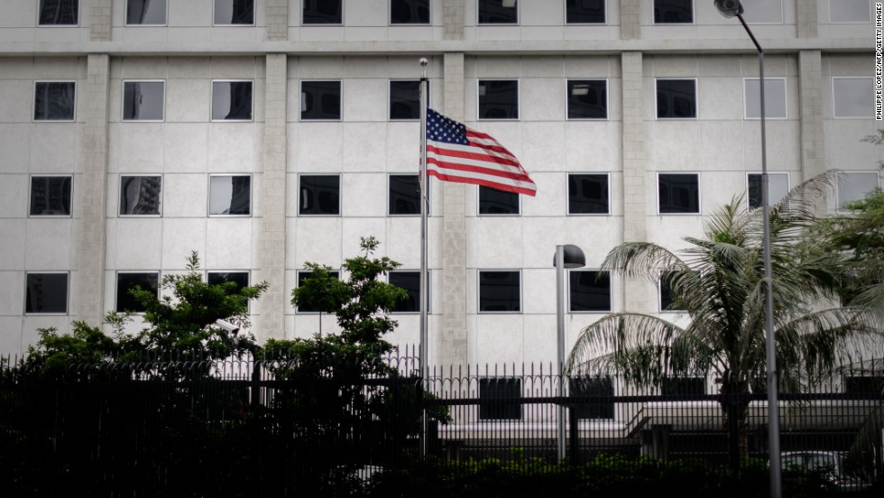 An American flag flutters in front of the U.S. consulate in Hong Kong on June 10.