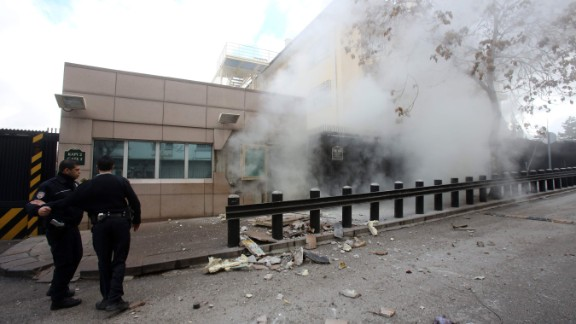A suicide bomb goes off at the U.S. Embassy in Ankara, Turkey, on February 1. A security guard was killed and a journalist was wounded in the attack. The Revolutionary People's Liberation Party-Front, or DHKP-C, took responsibility for the bombing.