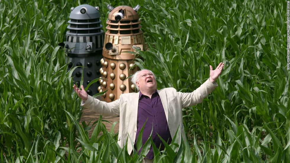 Colin Baker, who played the sixth Doctor from 1984-1986, poses with Daleks on July 12, 2013 in York, northern England.