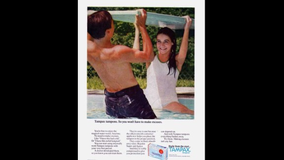 """This Tampax advertisement assures readers that girls can begin using internally worn protection with their """"very first period,"""" attempting to alleviate concerns still aired today that tampons should not be worn by young women and may affect their virginity."""