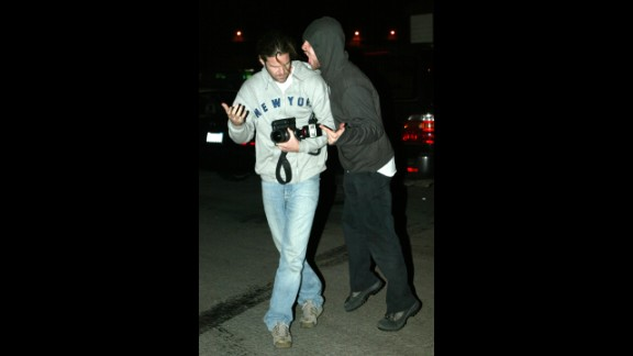 """Coldplay's Chris Martin was seeing red rather than """"Yellow"""" in January 2008. Martin was exiting a New York hospital with his wife, Gwyneth Paltrow, when he encountered a photographer (not pictured here). <a href=""""http://gawker.com/5002367/those-poor-paparazzi"""" target=""""_blank"""" target=""""_blank"""">The singer was captured on video clashing with the paparazzo</a> and trying to take his camera."""