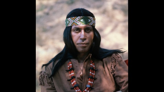 """Ansara as a Native American in an episode of ABC's Western-themed comedy """"Here Come the Brides"""" in 1969."""