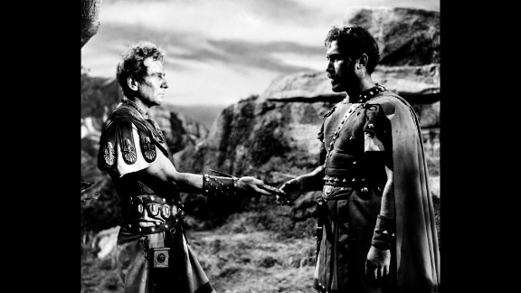 """Ansara, right, appears as Pindarus in a 1953 production of """"Julius Caesar"""" with John Gielgud as Cassius."""