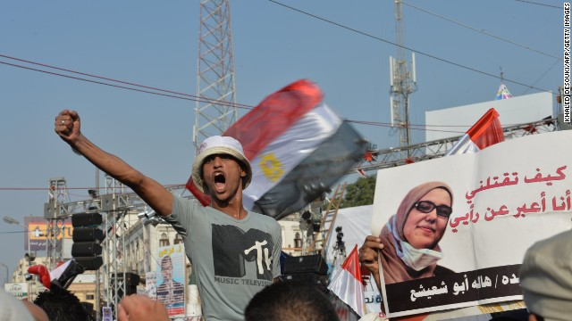 A man shouts anti-army slogans during a Muslim Brotherhood rally outside Rabaa al-Adawiya mosque, Cairo, August 4, 2013.