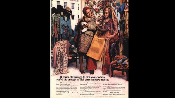 This vintage 1970s-era Modess magazine advertisement encourages the reader to switch from her mother