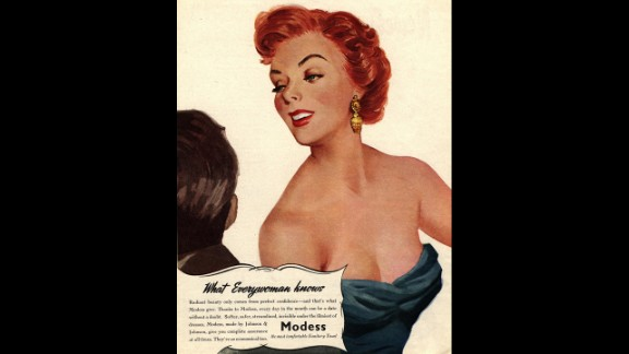 """This 1950s-era Modess commercial touts the ability of their product to inspire confidence """"invisible under the flimsiest of dresses."""""""